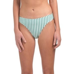 Jessica Simpson green & white striped swim bottoms